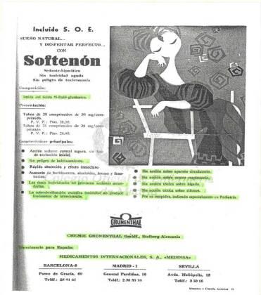 PROPAGANDA PUBLICIDAD SOFTENON TALIDOMIDA GRÜNENTHAL GRÜNENTHAL DICIEMBRE 1961 REVISTA AUXILIARES SANITARIOS