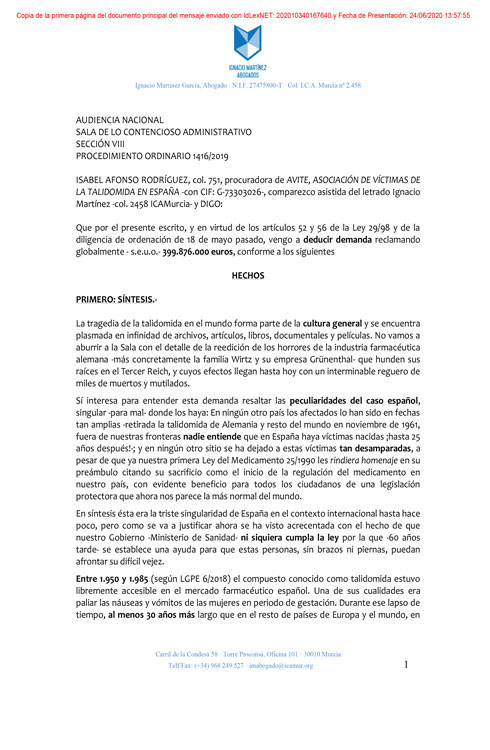 AVITE demanda al gobierno por 400 millones por incumplir la ley talidomida grunenthal