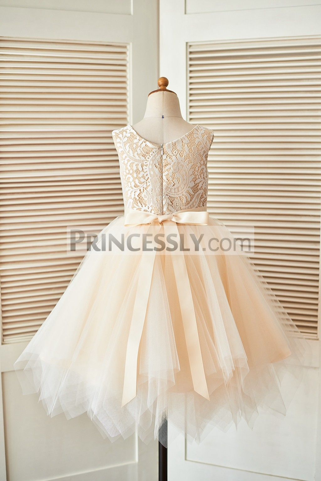 Ivory Lace Champagne Tulle Flower Girl Dress With Uneven