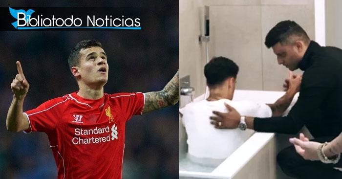 Futbolista Phillippe Coutinho se bautiza luego de aceptar a Cristo