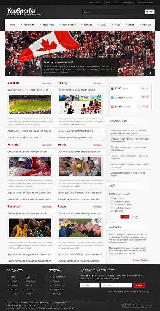 yousporter youjoomla avjthemescom - YouSporter Joomla Template