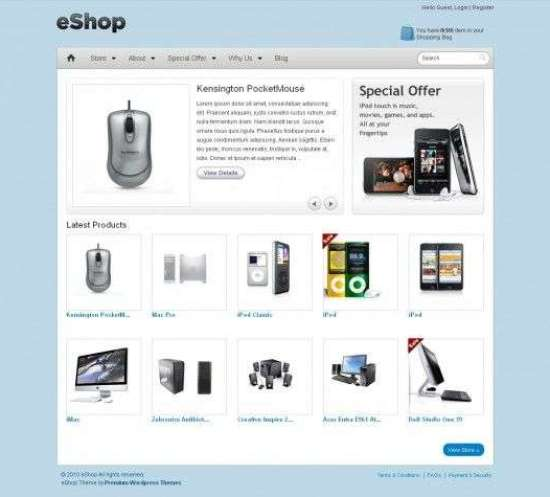 eshop ecommerce templatic themes 550x475 - eShop eCommerce Wordpress Theme