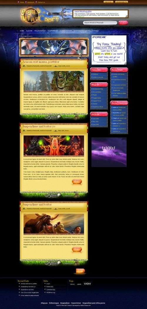 world of warcraft motion theme - World of Warcraft Premium Wordpress Theme
