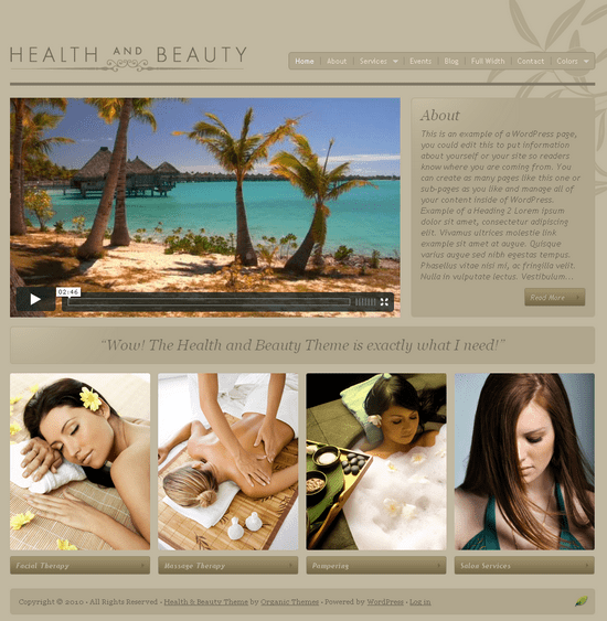 organic health and beauty - OrganicThemes Wordpress Themes