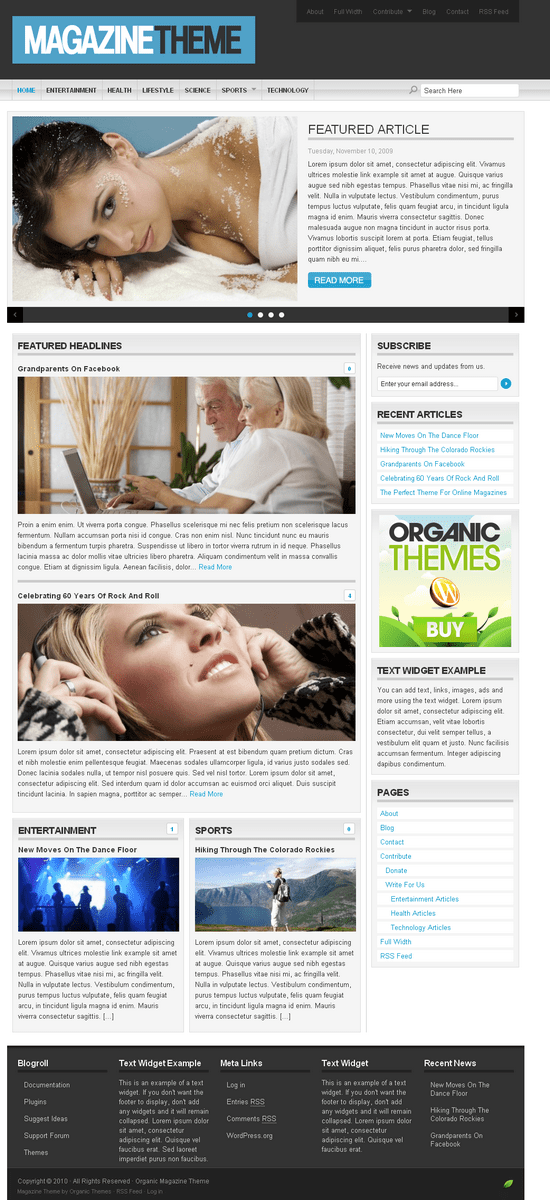 organic magazine wordpress theme - OrganicThemes Wordpress Themes