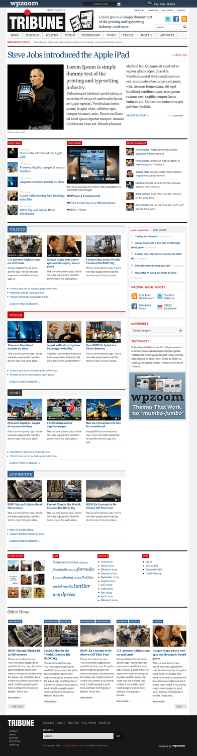 tribune wpzoom wordpress theme - Tribune Premium WordPress Theme