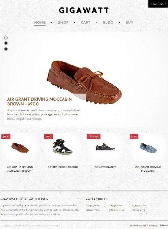 gigawatt ecommerce obox design themes - Gigawatt WordPress Theme