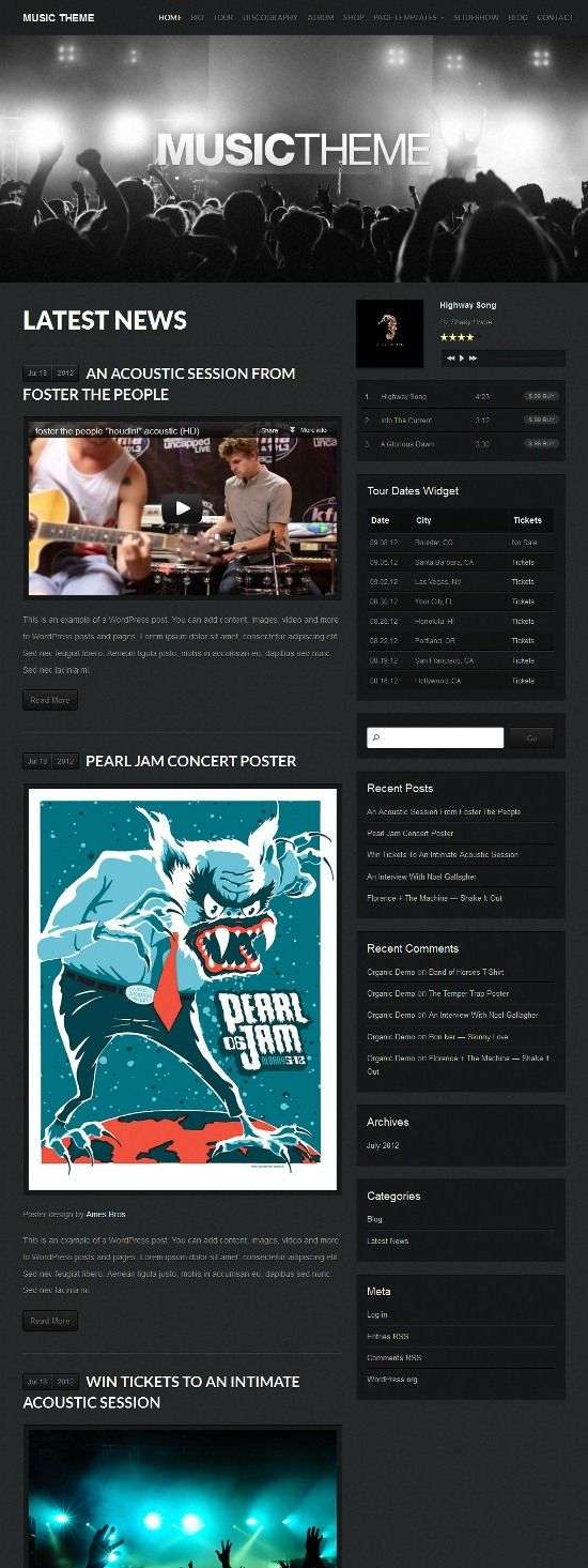 organic music avjthemescom 01 - Organic Music WordPress Theme