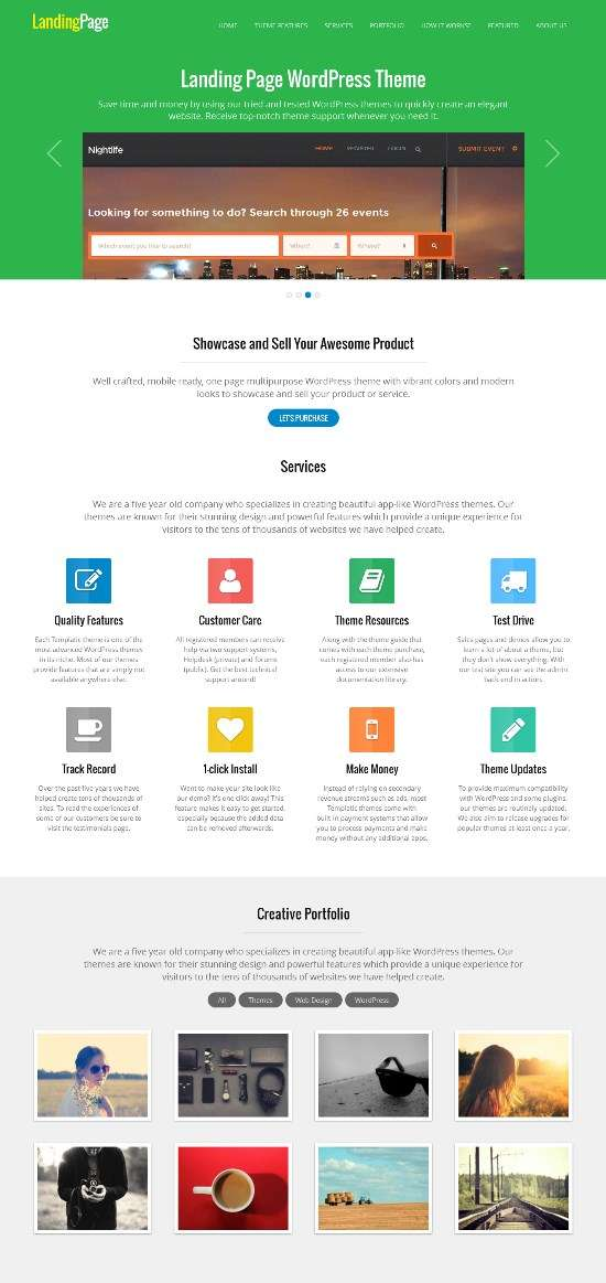 landingpage templatic avjthemescom 01 - Templatic Landing Page WordPress Theme