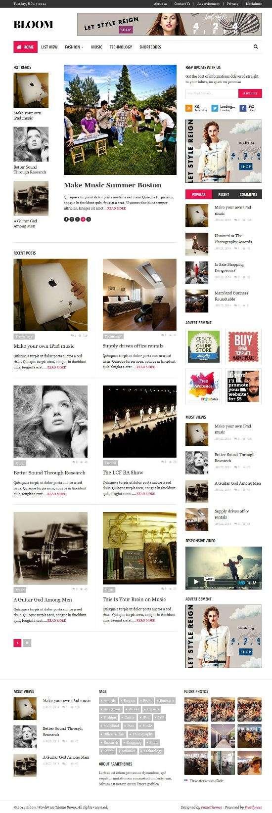 bloom famethemes avjthemescom 01 - Fame Bloom WordPress Theme