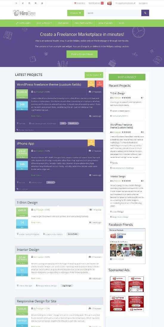 hirebee appthemes avjthemescom 01 - Hirebee WordPress Theme