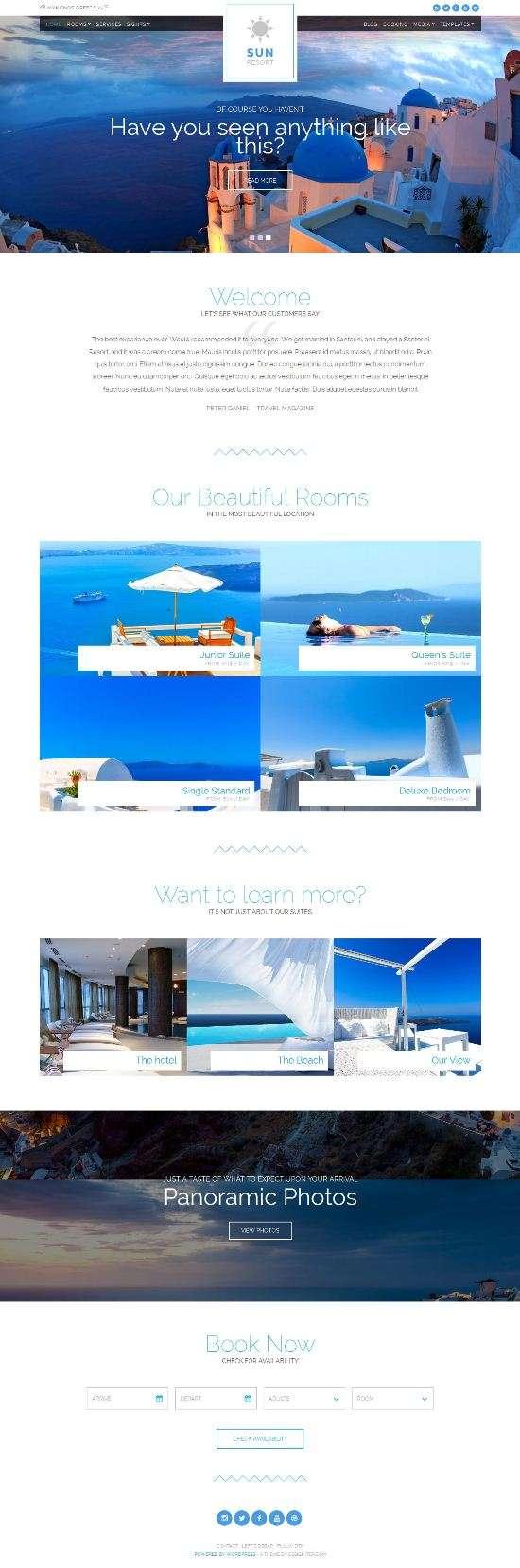 sun resort cssigniter hotel booking theme 01 - Sun Resort WordPress Theme