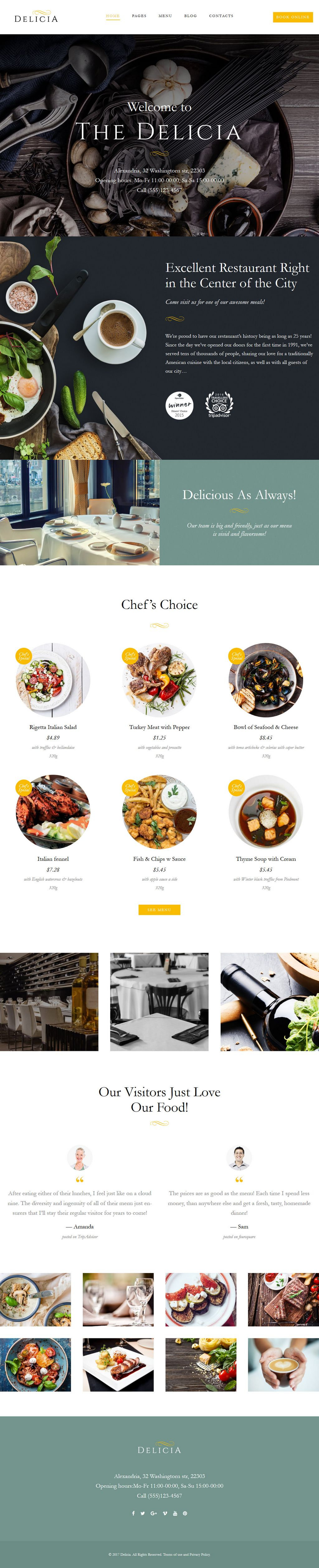 The Delicia Wordpress Theme For Cafe Restaurants