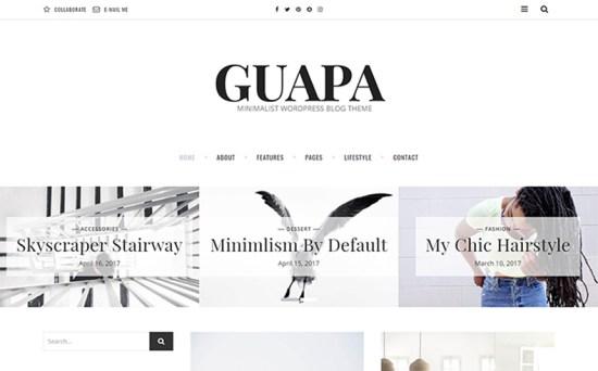 guapa wordpress theme 01 - Top 20 Fresh Feminine & Minimal WordPress Themes