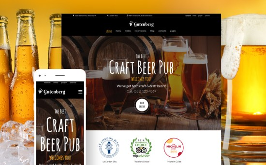 Craft Beer Pub and Brewery Resposnive WordPress Site
