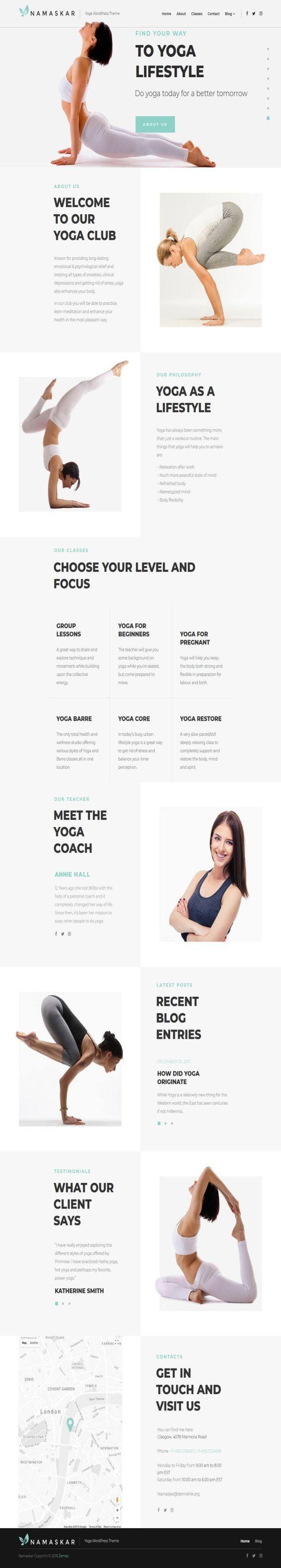 Namaskar Yoga WordPress Theme