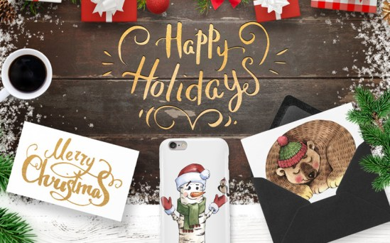 Merry Christmas and Happy Holidays - Excellent Set of Illustrations Merry Christmas and Happy Holidays Illustration