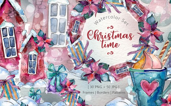Christmas Time - Bright PNG Watercolor Illustrations