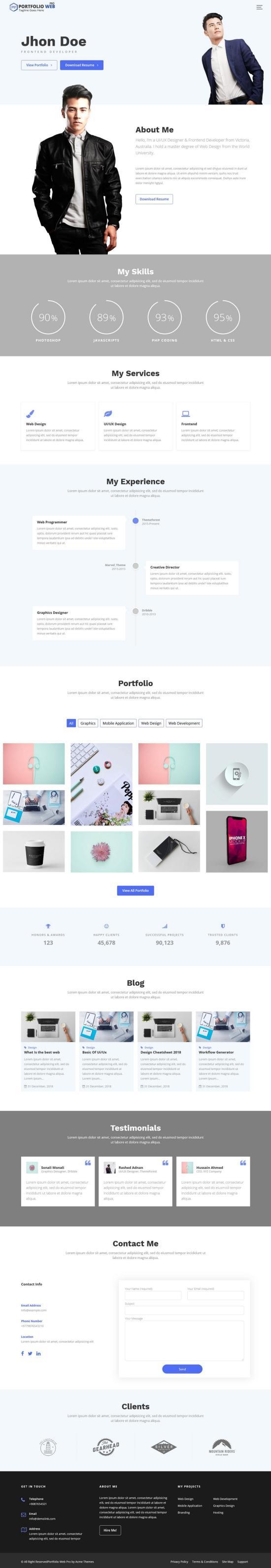 portfolio web pro wordpress theme 01 - Portfolio Web Pro WordPress Theme