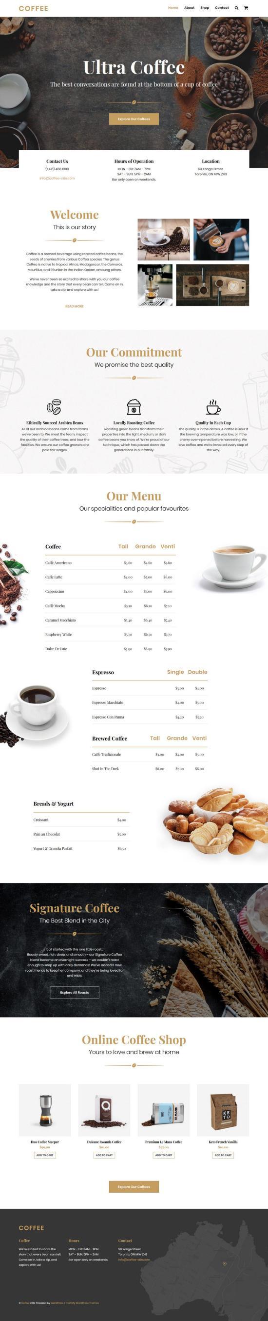 Ultra Coffee WordPress Theme Demo