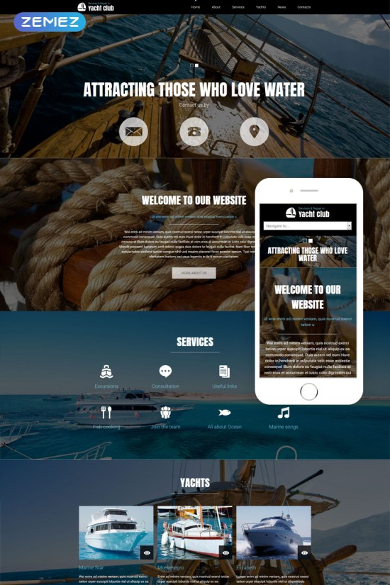 Yacht Club Joomla Template Preview