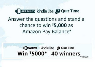 Amazon Kindle Lite Quiz answers - Participate & Win Rs.5,000 amazon pay balance