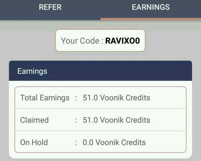 Voonik App Referral proof