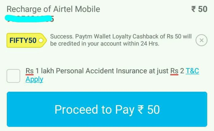 Paytm FIFTY50 Promo code - Get Rs 50 Recharge For Free (*Again*) (*PROOF*)