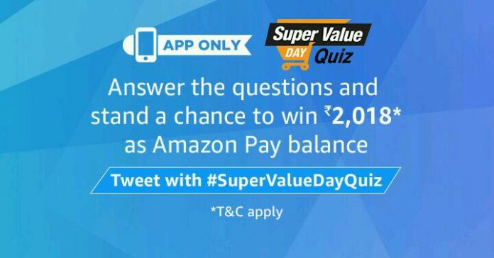 Amazon Super value Day Quiz answers 1st January 2018