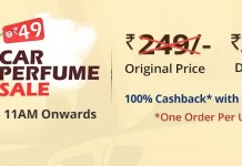 Droom Flash Sale - Get car Perfume at only Rs 45 [100 % Cashback With Paytm ]