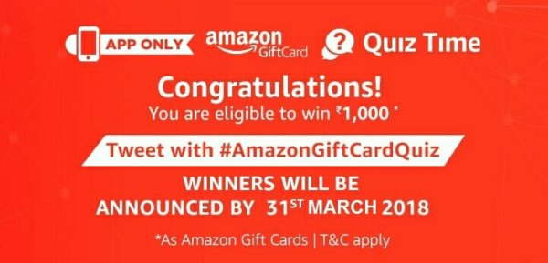Amazon Gift Cards Quiz Answers - Participate and win Rs 1000 Amazon Pay Balance