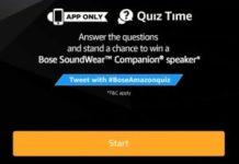 Amazon Bose Quiz Answers – win Bose SoundWear Companion Speaker