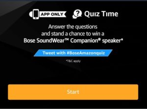 Amazon Bose Quiz Answers – win Bose SoundWear Companion Speaker