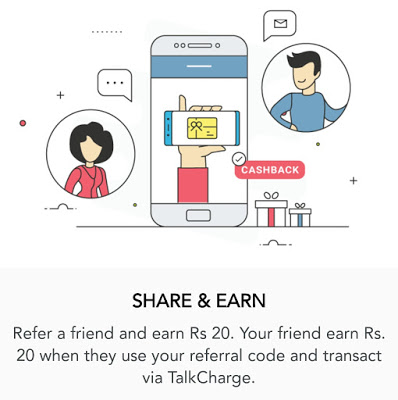(Proof) Talkcharge App – Get Rs 20 Cashback on Rs 20 Recharge + Rs 20 per Referral