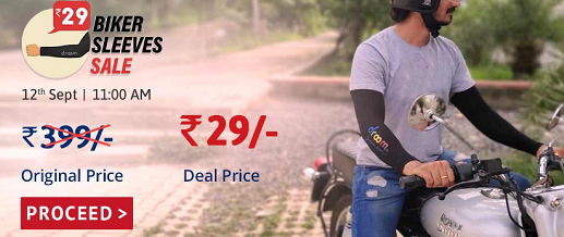 Droom Biker Sleeves Flash sale @ only Rs.29 worth Rs.399 (*Trick*)