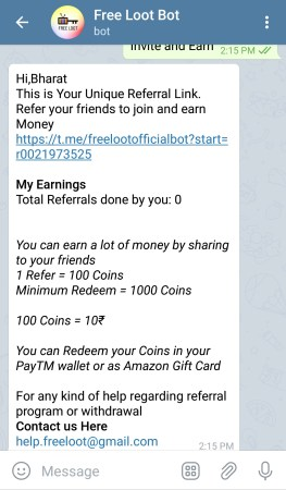 telegram paytm loot