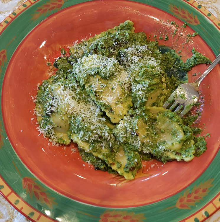 pasta with pesto with scapes