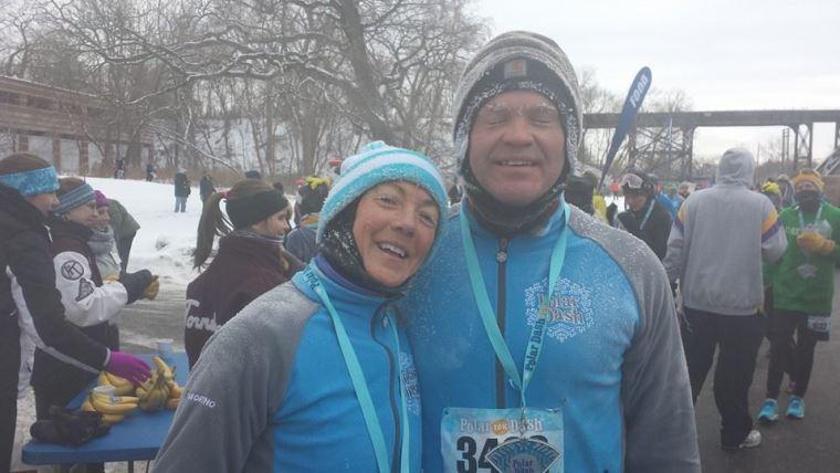 Karen and Aaron running New Years
