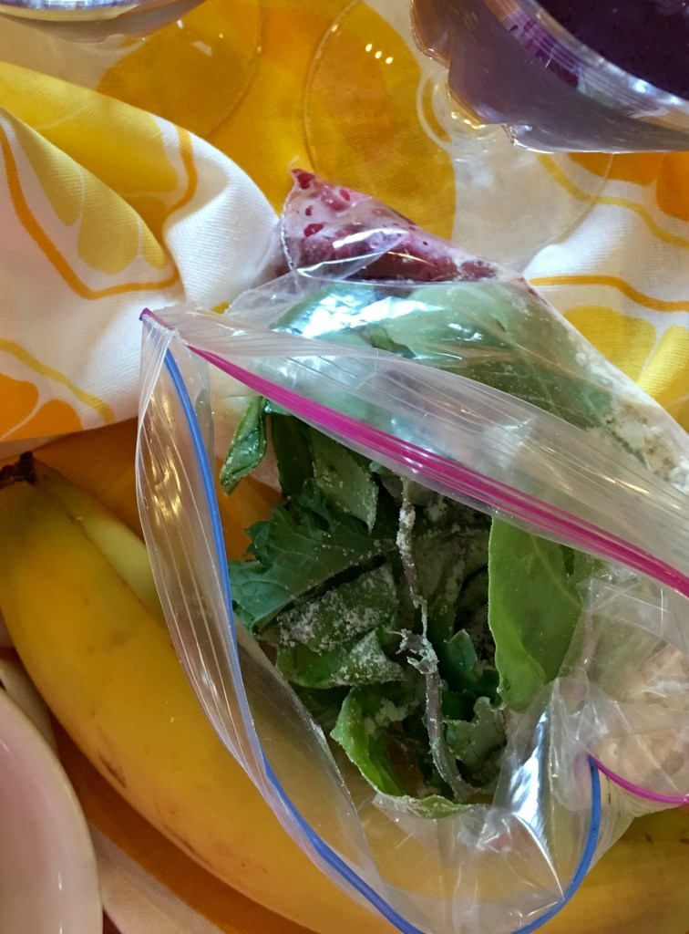 Blueberry-Lemon Oatmeal Smoothie Freezer Baggie with some added Greens!