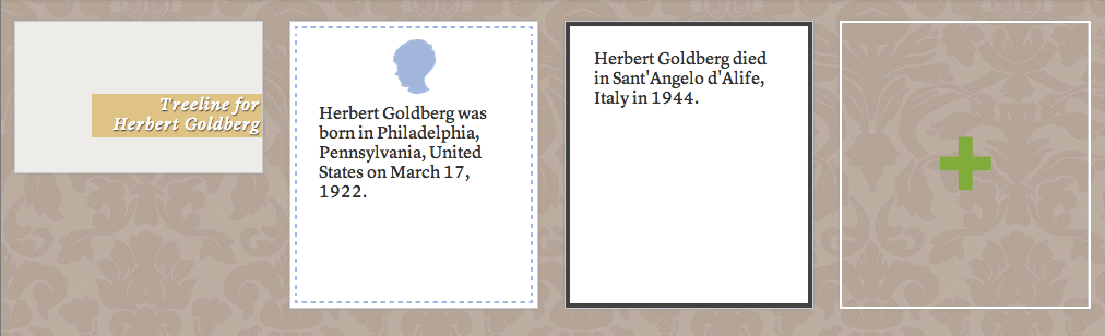 After importing my GEDCOM file, Herbie's life story on Treelines consisted of just two pages.