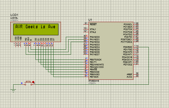 Button counter using Atmega16-Scrolling text-Printing of integer