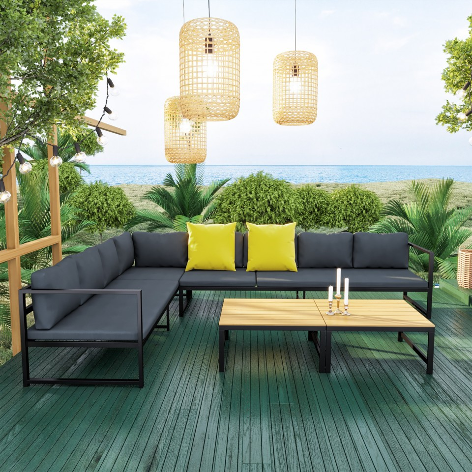 salon modulable relevable de jardin en