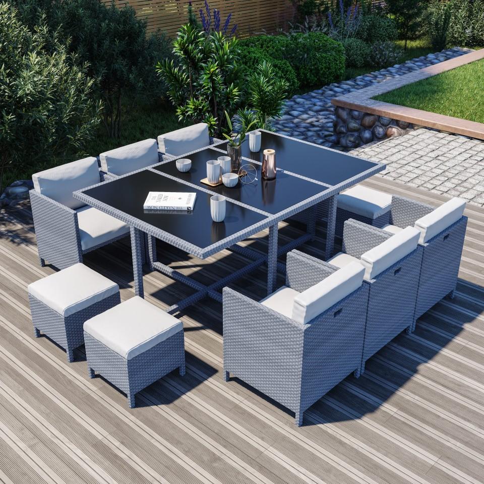 table encastrable gris ecru 10 places