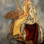 Portrait of the Queen Elizabeth II in coronation gown seated on a large featherless Velociraptor