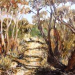 Out of focus painting of mallee trees at wypfeld national park