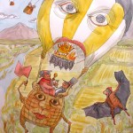 Painting of a chicken and champagne breakfast taken by monsters who are in a balloon that is sentient.