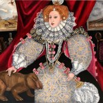 Elizabeth I all blinged up to celebrate the armada meteor that defeated the dinosaurs. She is patting an extinct mammel-like reptile and looking very happy about it all. Oil painting of British royalty and dinosaur by Avril E Jean