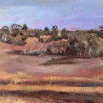 Painting of the dry clay beds at Wyperfeld national park