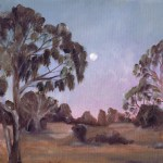 Painting of the moon at dusk over the campground at Wyperfeld national park