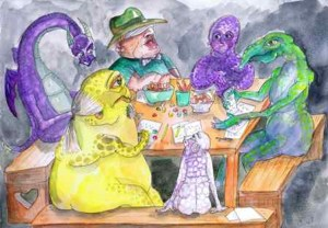 painting of a bunch of roleplayers sitting around gaming, with dice and pencils. looks like all my games
